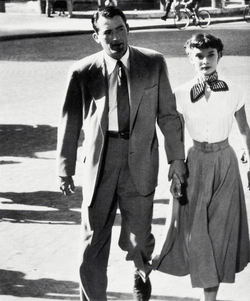 """""""It was my good luck, during that wonderful summer in Rome, to be the first of her screen fellows, to hold out my hand, and help her keep her balance as she did her spins and pirouettes. Those months were probably the happiest experience I ever had making movies… she made everybody in the world fall in love with her."""" - Gregory Peck on Audrey Hepburn"""