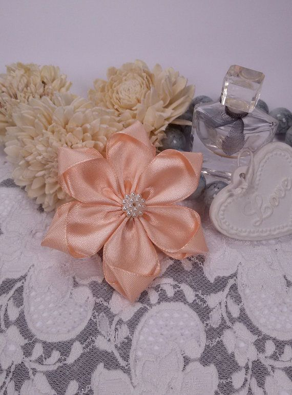 Peach satin ribbon brooch flower brooch peach scarf by Rocreanique on Etsy