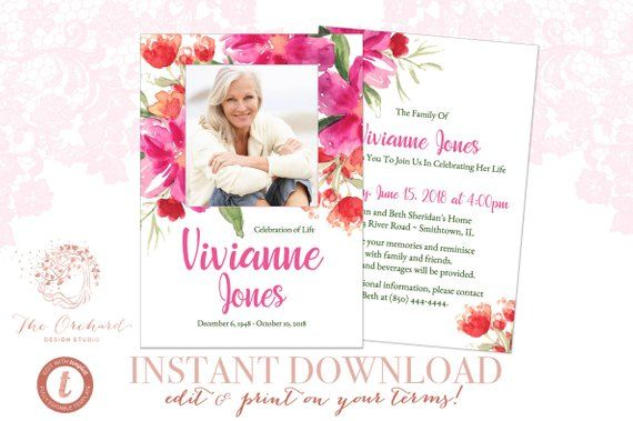 Funeral Announcement Invitation Instant Download Printable