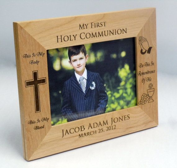"Personalized First Communion Wood  Picture Frame - 5"" x 7"": First Communion Gift on Etsy, $17.50"