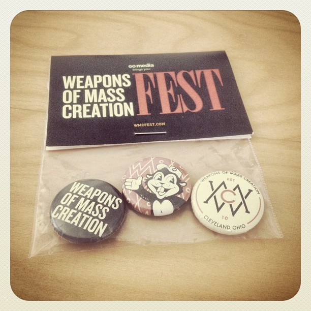 1-inch button pack Busy Beaver created for the Weapons of Mass Creation fest in Cleveland, OH. BusyBeaver.net