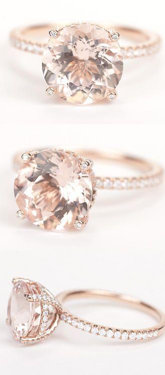 ZERTIFIZIERT – GIA Certified Huge Runde Morganit & Diamonds Candy Ring 14K Rose … – Marilyn Dobler