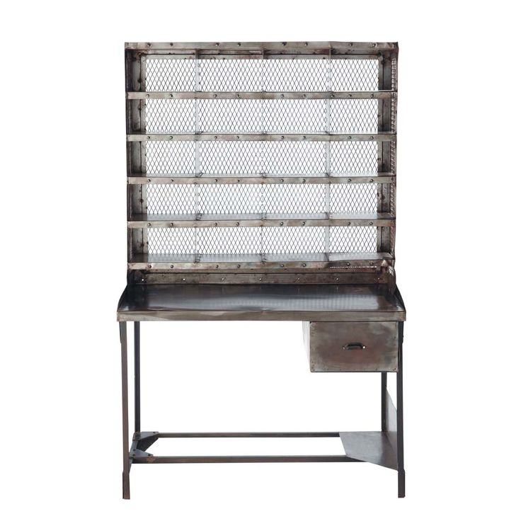 Bureau secrétaire en métal effet vieilli L 110 cm Télégraphe   Maisons du Monde