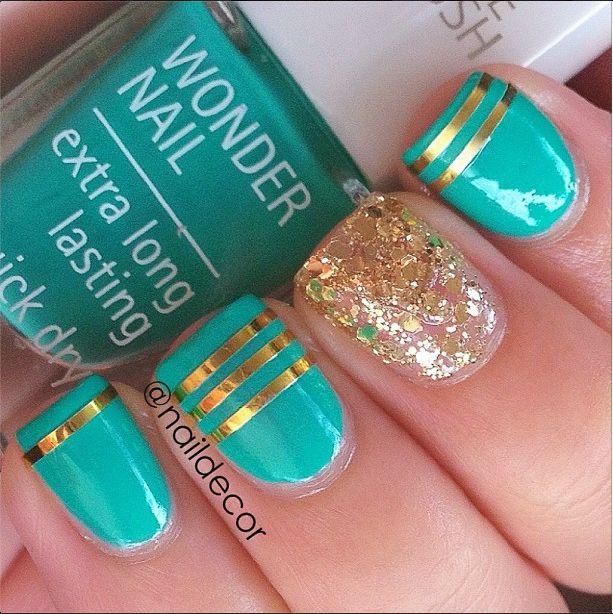 Aqua & Gold Atlantis #Nails