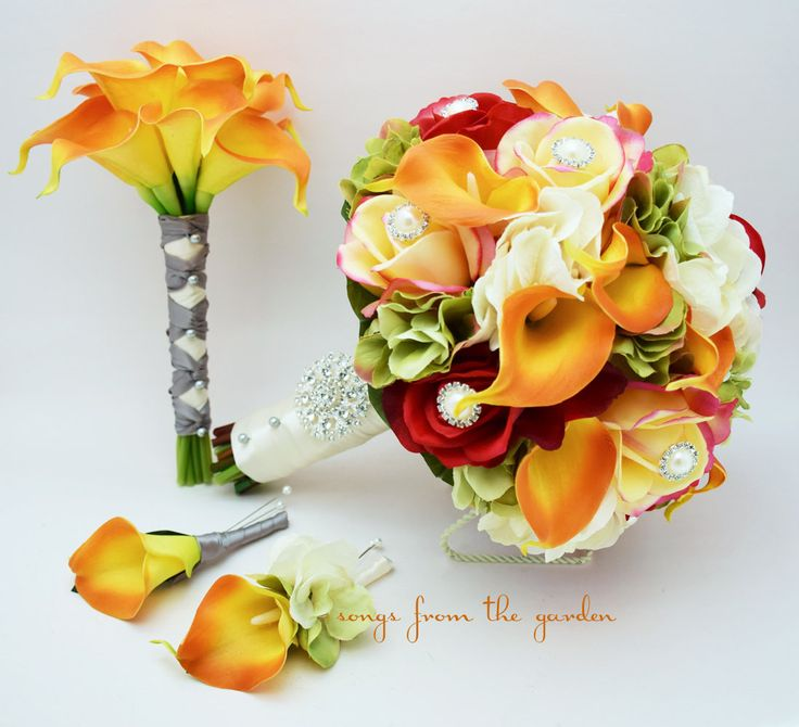 In vibrant reds, yellows and oranges, this gorgeous and fresh-feeling wedding package of real touch roses, calla lilies, and silk hydrangea can be yours to have and to hold on your wedding day. Place