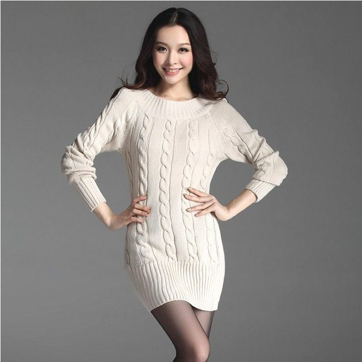 free shipping Many color 2014 New Fashion Womens Spring Autumn Winter Medium Long Twist Basic Knitted Pullovers Dresses Sweaters-inPullovers...