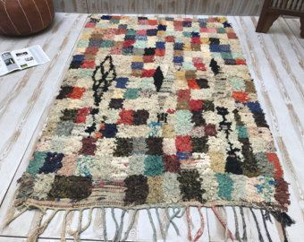 Fantastische AZILAL-rug 4 x 5 Boucherouite, prachtige Marokkaanse Handknotted Marokkaanse tapijt