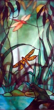 Dragonfly Stained Glass Two layer effect (have as south wall for Wet Closet to maximize natural light)