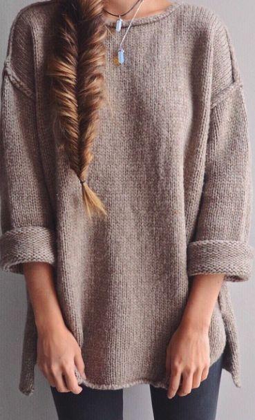 Apricot Plain side slit Round Neck Fashion Acrylic Pullover Sweater