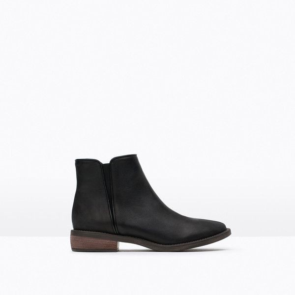 Zara Flat Leather Booties ($100) ❤ liked on Polyvore