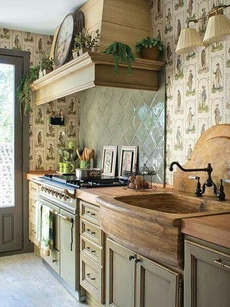 Love this stone sink! -I HAVE NEVER SEEN A SINK LIKE THIS & IT IS STUNNING! - THE BACKSPLASH & DECOR, GOES SO WELL WITH THE 'STAR' OF THIS FABULOUS KITCHEN...........BEING THE SINK!!