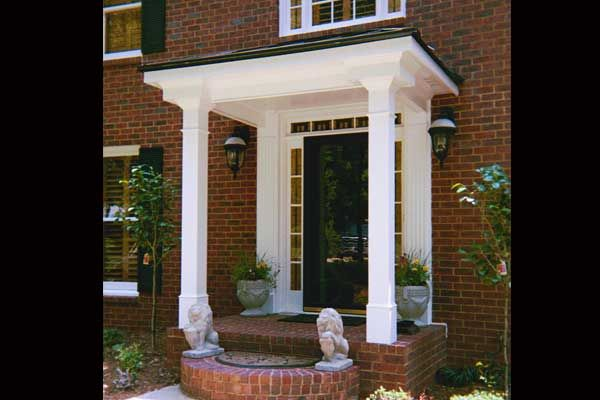 Portico with flat roof google search front porch ideas for Shed roof porch designs