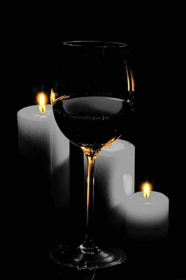 The glow of the candle light and the warm taste of wine on our lips is simply intoxicating, darling....