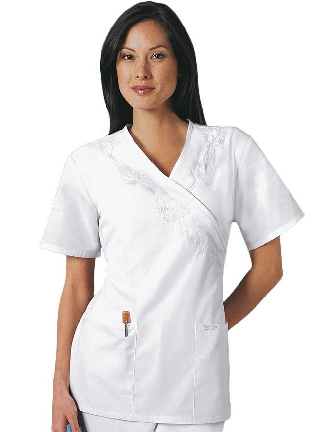 Cherokee Whites Mock Wrap Embroidery Women Nurse Scrub Top
