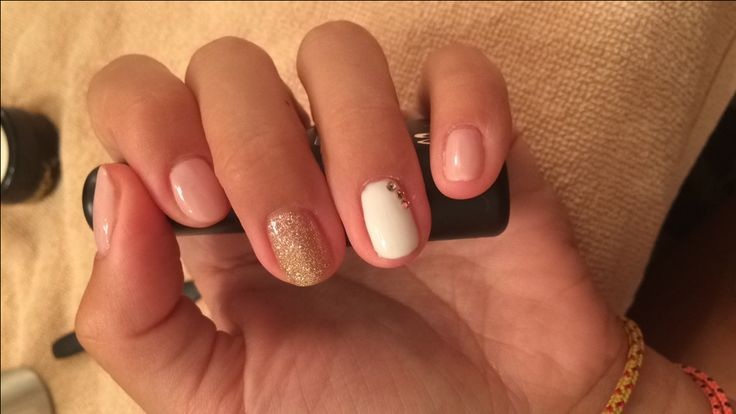 #nude #white #gold #white #nails #lilinails