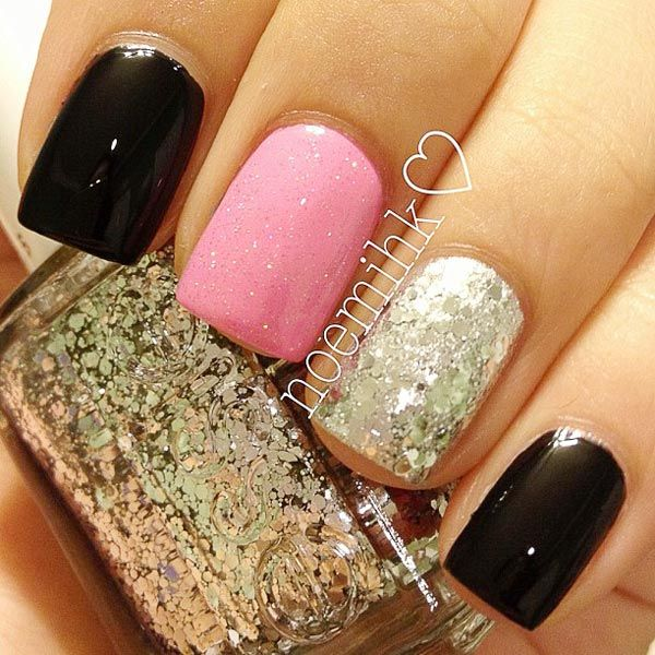 Pink Sparkles | black pink glitter nails » Favnails