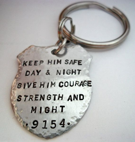 Police Prayer Badge Keychain Officer Law by StampedbyShaye on Etsy