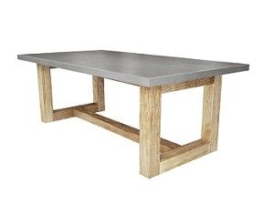 Zen Wood - Concrete Dining Table. DIY...Square dining table with white concrete top and gray washed legs to seat 12...Yes, please!