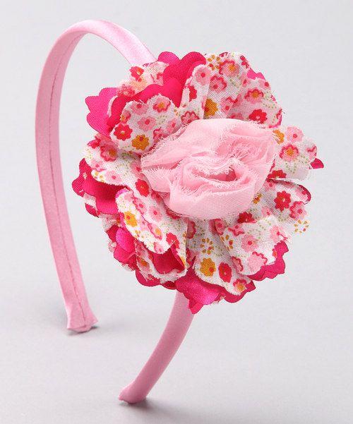 diadema flor y rosa en tela