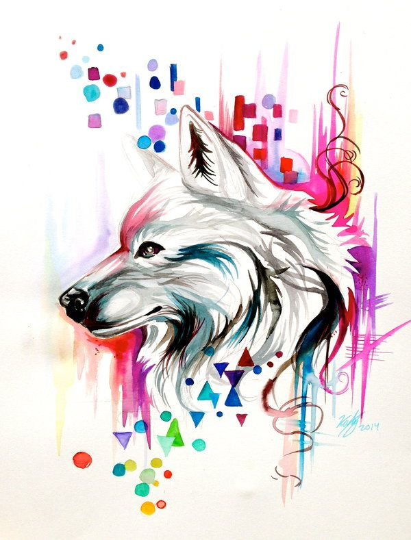 Watercolor Wolf Design (on ebay) by Lucky978.deviantart.com on @deviantART