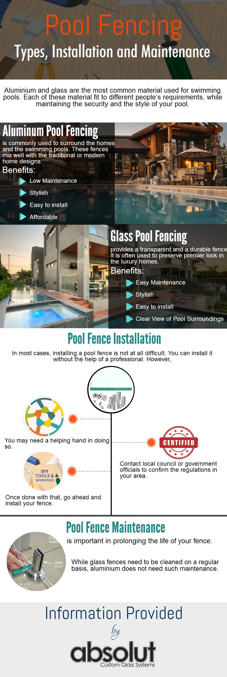 Pool fencing is one of the effective ways of increasing the aesthetic value of your pool area and keeping it safe. However, there is a wide variety of fencing used for the pool. Its installation and maintenance also has some particulars. To know more about – Pool Fencing, its types, installation and maintenance, go through this Infographic.