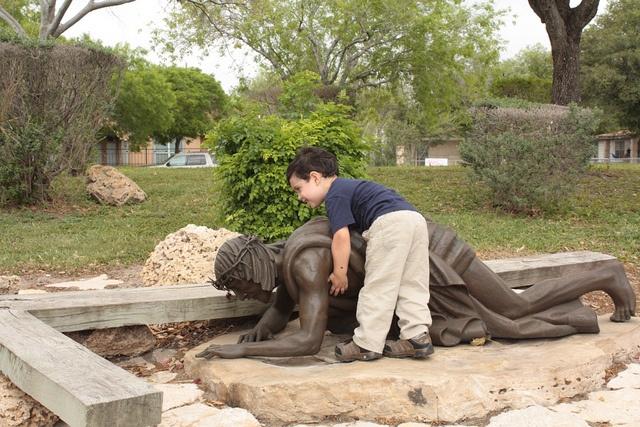 Little boy trying to help Jesus back to his feet.: Catholic Faith, Help Jesus, Little Boys