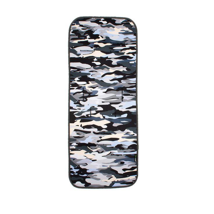 Colchoneta Recta con estampado de camuflaje en tonos grises y azules. #colchonetas #Kiwisac