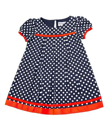 Another great find on #zulily! Navy & White Polka Dot Babydoll Dress - Toddler & Girls #zulilyfinds