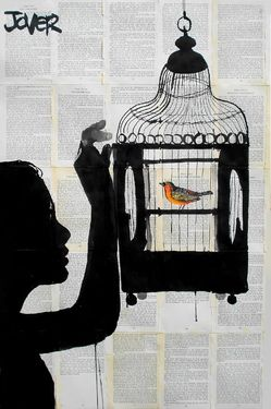 "Saatchi Art Artist: Loui Jover; Pen and Ink 2013 Drawing ""bird cage"""