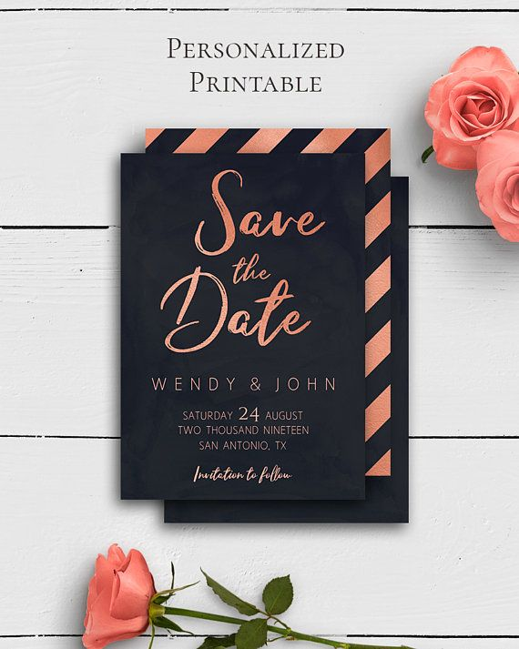 Rose Gold Navy Save the Date Card with modern and trendy rose gold and navy blue design in classy wedding style by Amistyle Digital Art on Etsy