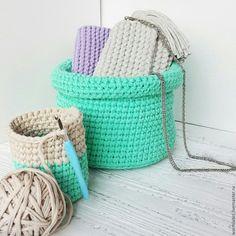 Knitted baskets | Купить Корзины из толстой пряжи - бирюзовый, корзина, корзина плетеная, Корзина для хранения, корзина для подарков