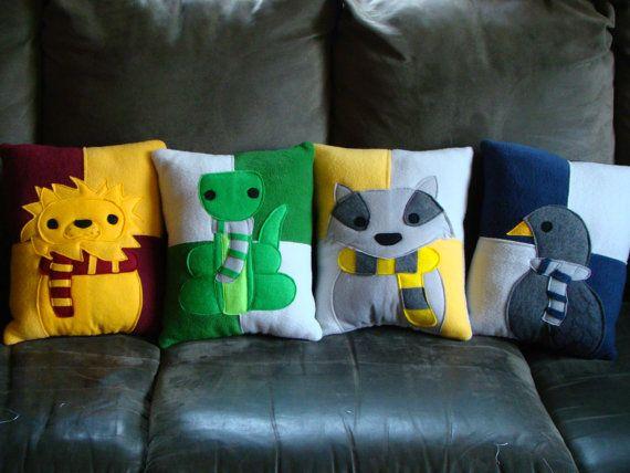 Harry Potter house mascot pillows by telahmarie on Etsy, $35.00