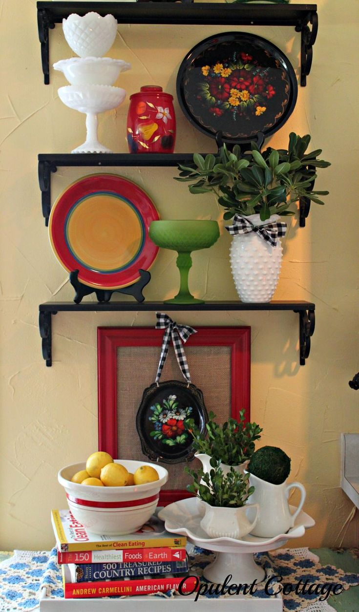 Paint shelves a color other than white in bathroom. Opulent Cottage Kitchen Shelves Vignette
