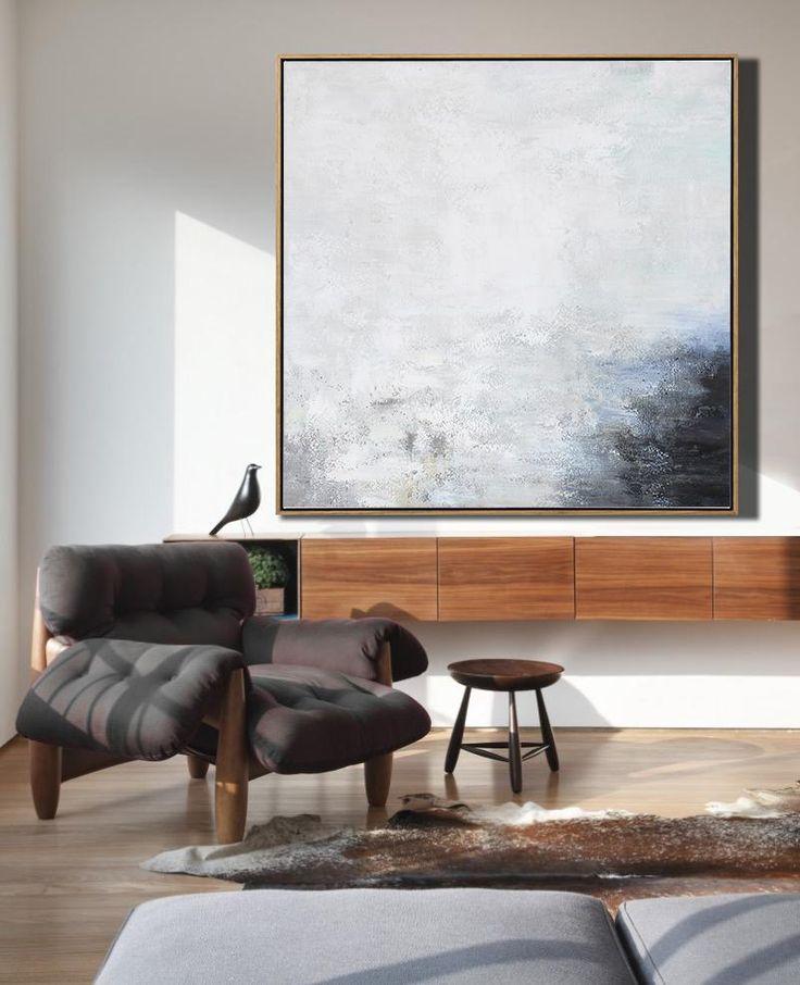 CZ Art Design - Abstract Landscape Art #XB124A, square abstract landscape painting canvas art, neutral colors, large canvas wall art.