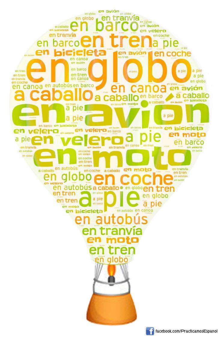 Nube de palabras sobre los transportes | Más materiales en www.profedeele.es y…