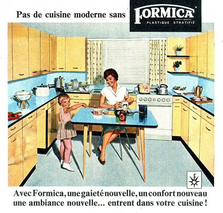 """A new joy a new comfort a new atmosphere for your kitchen"" Formica Laminates advert for France 1960 http://ift.tt/2dLBIqD #kitchen #design #kbb"