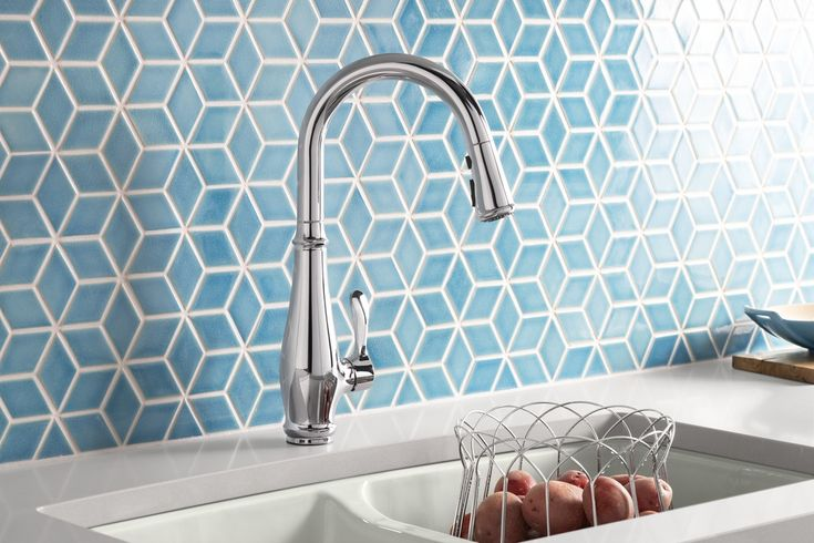 blue tile backsplash
