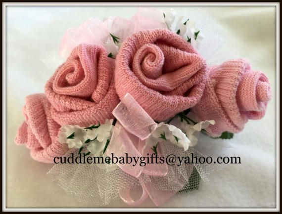 Baby Sock Corsage Baby Girl Baby Shower Sock Corsage