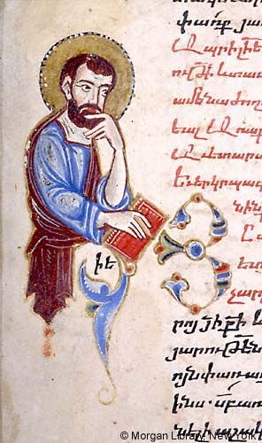 Half figure of Evangelist Mark nimbed, book in right hand | Menologium | Cilicia, Sis, 1348 (modern day Turkey, Kozan) | The Morgan Library & Museum