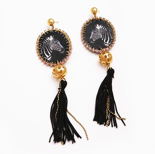 Contemporary stylish jewellery / Earings-Zebra