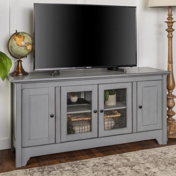 Walker Edison Furniture Company 52 In Antique Grey Storage Console Wood Media Tv Stand Hd52c4doagy Grey Storage