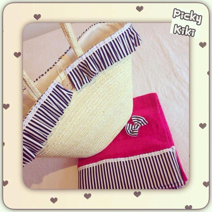 Handmade Nave beach towel & bag