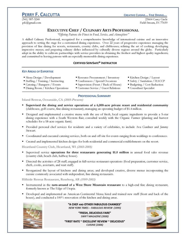 53 best work images on Pinterest Cover letter tips, Great cover - country club chef sample resume