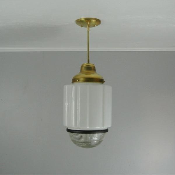 Vintage deco brass pendant light pepe carols