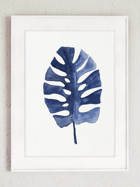 Something Blue Gift Idea. Tropical Palm Leaves Clipart. Banana Palm Leaf Painting. Philodendron Tropical Monstera Watercolor. Denim Home Decor Minimalist Abstract Paper Art Print. A price is for the set of two different Palm Tree Leaf Art Prints as shown in the first picture. Type of paper: Prints up to (42x29,7cm) 11x16 inch size are printed on Archival Acid Free 270g/m2 White Watercolor Fine Art Paper and retains the look of original painting. Larger prints are printed on 200g/m2...