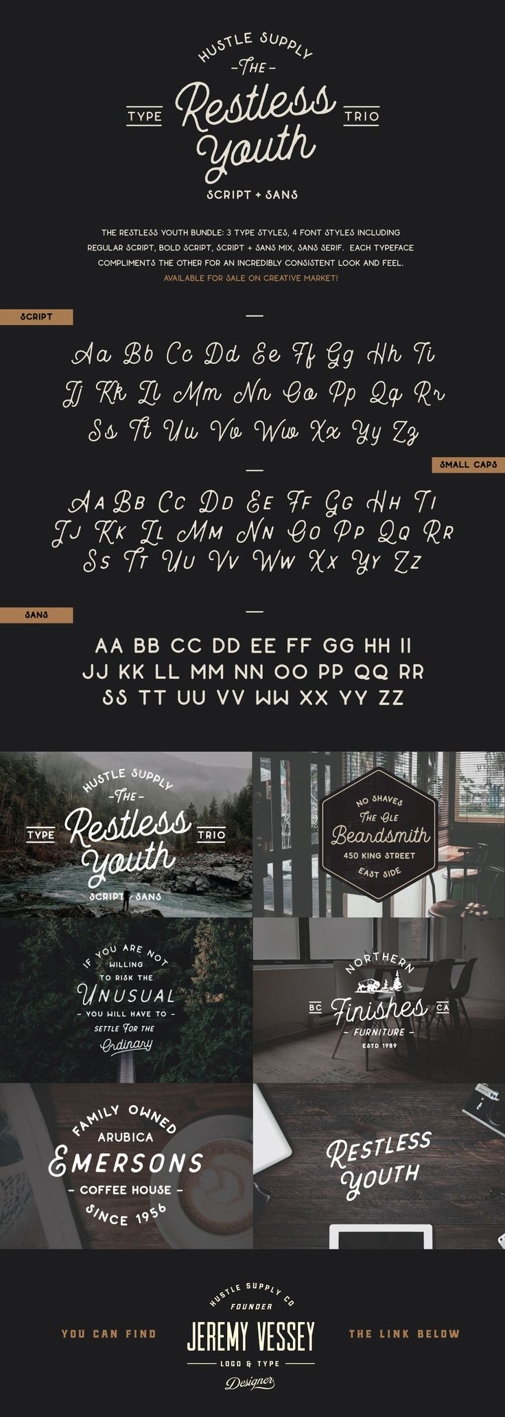 The Restless Youth Bundle is comprised of 4 font files & 3 different type styles. Each can be paired together for an outstanding look! It's perfect for Logotypes & Type pieces. That's exactly the reason why I decided to make this product. I've always been…