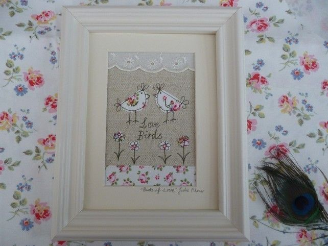 Handmade Framed Textile Art Cath Kidston Fabrics, applique 'Love Birds', gift  £19.99
