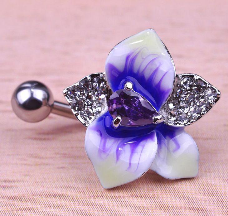 Enamel Esmalte Violetta Flowers Navel Piercing Belly Button Rings Rasta Sex Body Jewelry Percing Accessories Women Grillz Lot  DOESNT SHOW HOW MANY G