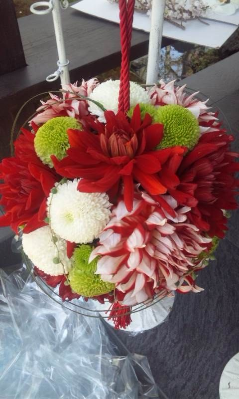 white red green bouquet for kimono