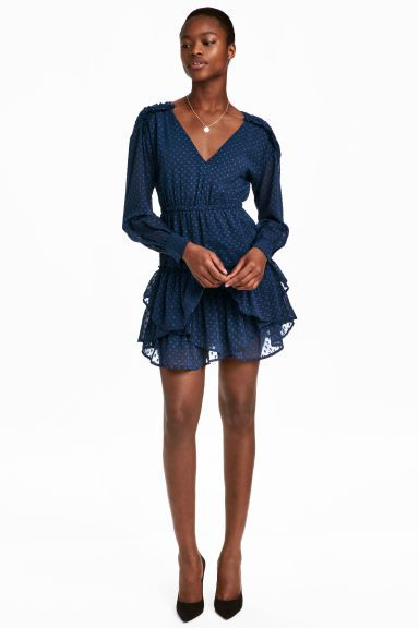 Short chiffon dress - Dark blue - Ladies | H&M GB 1